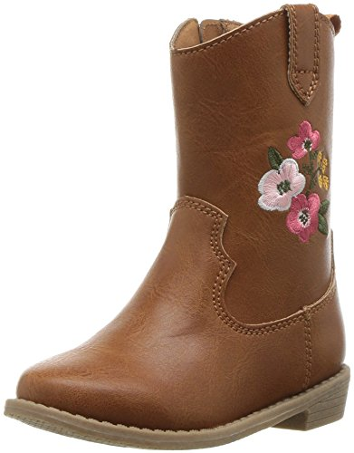 carter's Girls' Fay2 Western Boot, Brown, 7 M US Toddler