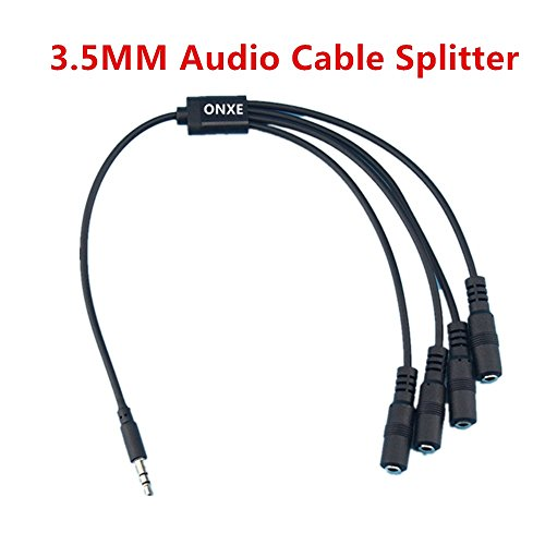 Speaker and Headphone 3.5 mm AUX Audio Cable Splitter,3.5mm Male to 2 3 4 X Female for Connecting External Speakers or use both Output for External Speakers (black) 3 Way Microphone Splitter