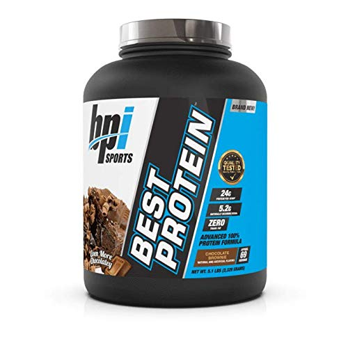 BPI Sports Best Protein - 100% Whey Protein Blend - Muscle Growth, Recovery, Meal Replacement - No Maltodextrin, No Fillers - Gluten Free - for Men & Women - Chocolate Brownie - 5.1 Pounds