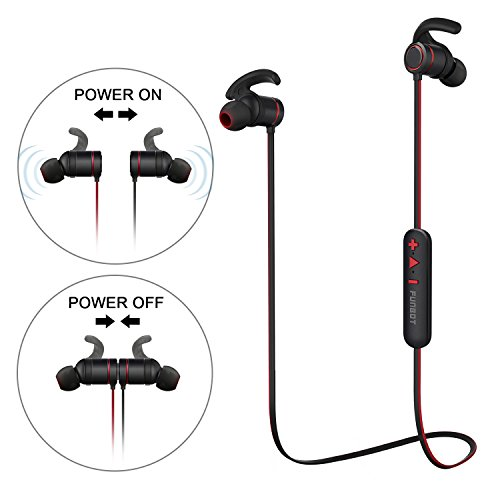 FUNBOT Bluetooth Headphones V4.1 Magnetic Intelligent Switch Wireless In-Ear Earbuds Sweatproof Earphones Lightweight Noise Cancelling Headsets with Mic for Sports Running Gym