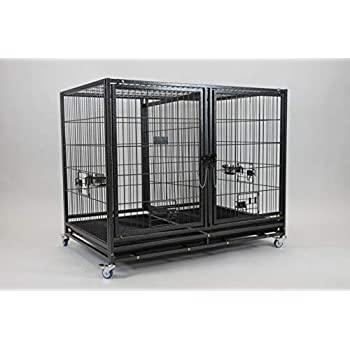 Image of Home and Kitchen 43' Stackable Heavy Duty Cage w/Feeding Doors and Divider or Additional Tray