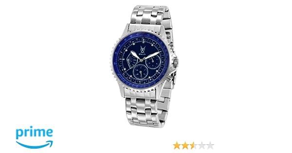 Amazon.com: Konigswerk Mens Multifunction Watch Silver Tone Bracelet Blue Dial Crystal Markers SQ201470G: Konigswerk: Watches