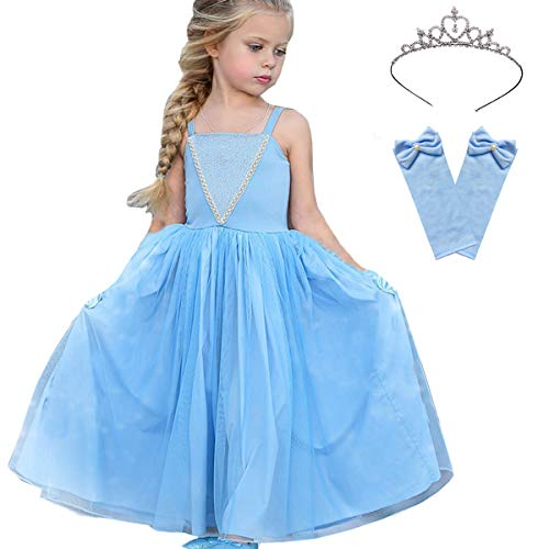 Snow Queen Princess Elsa Cinderella Anna Costumes Frozen Flower Girls Pageant Party Birthday Dresses with Tiara Sleeves -