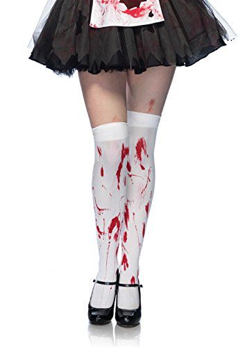[Leg Avenue Women's Bloody Zombie Thigh High Hosiery, White/Red, One Size] (Sexy Zombie Halloween)