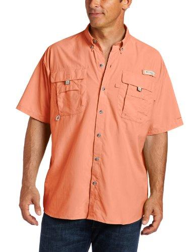 Columbia Mens Bahama II Short Sleeve Shirt, Bright Peach, Large
