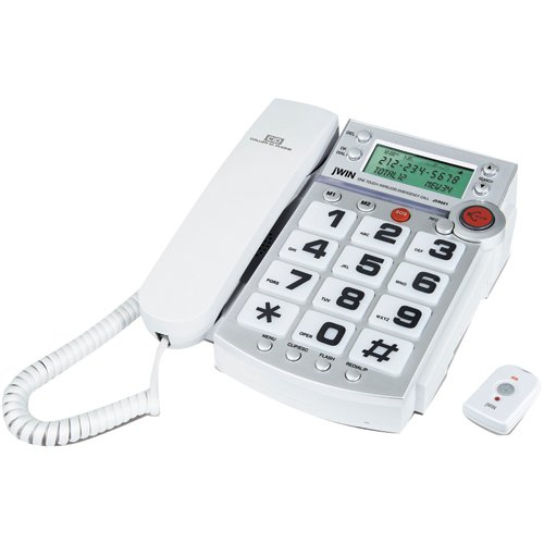 (Jwin Jtp551Wht Dual Caller Id Phone with 2.4 Ghz Wireless Emergency Remote (White) )