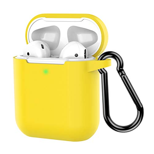 AirPods Case, Coffea Protective Silicone Cover Skin with Keychain for Apple AirPods 2 Wireless Charging Case [Front LED Visible] (Lemon Yellow) ()