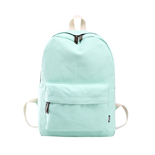 Remiel Store Lovers Couples Canvas Preppy Style Shoulder Bookbag School Bag Travel Backpack (Mint Green)