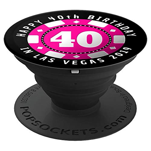 40th Birthday in Las Vegas 2019 Poker Chip PopSockets Grip and Stand for Phones and Tablets (Best Girlfriend Getaways 2019)
