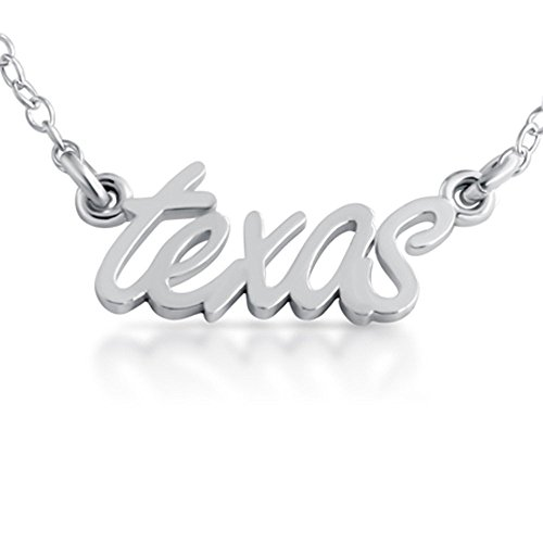925 Sterling Silver Texas State Handwritten Script Necklace USA (16 Inches)