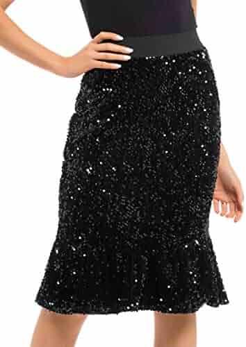 34b212fdd2 PrettyGuide Women s Sequin Skirt High Waist Velvet Shimmer Mermaid Ruffle  Party Pencil Skirt