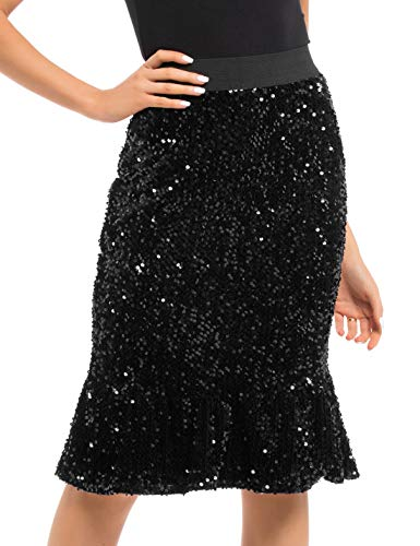(PrettyGuide Women's Sequin Skirt Velvet High Waist Glitter Ruffle Pencil Formal Party Skirt L Black )
