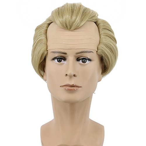 Yuehong Short Blonde Mens Wig Fluffy Bald Head Wig Synthetic Halloween Costumes Cosplay Wigs