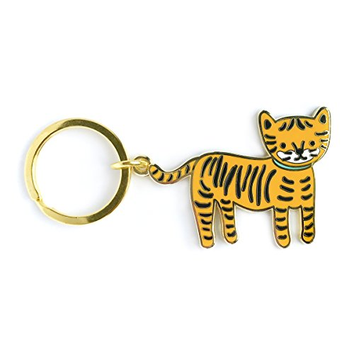 Night Owl Paper Goods Lil' Tiger Enamel Keychain, Gold