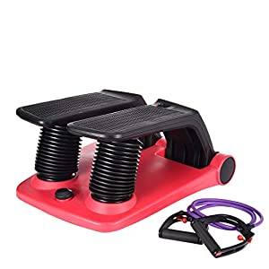 Air Stepper Climber for Women and Man, Fitness Machine Resistant Cord Air Step Aerobics Machine Stair Stepper with LCD Monitor and Resistance Bands (Red-Black, Ship from US)