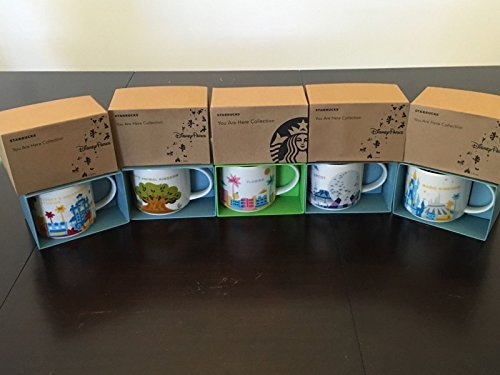 5 Mug Set: Animal Kingdom+ Magic Kingdom+Epcot 2+ Disney's Hollywood Studios+ Florida You Are Here YAH 14 Oz. Starbucks Mugs