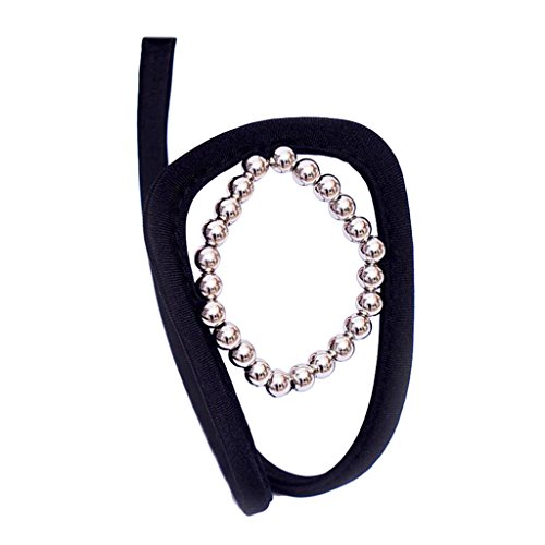 Prettyia Spanish Style Womens Thong Satin Mesh G-String Sexy Black Lingerie Open Underwear - Silver, 32.6x3inch ()
