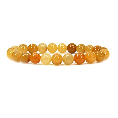 Natural Multicolor Yellow Jade Gemstone 8mm Round Beads Stretch Bracelet 7
