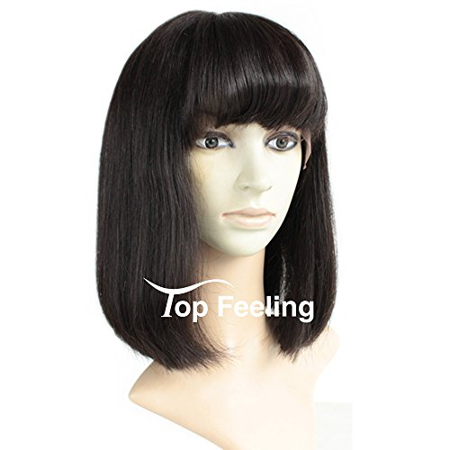 Brazilian Short Lace Front Wigs Human Hair Bob Wigs for Black Women Natural Color Silky Straight Hair Wigs with Bangs TopFeeling by Top Feeling (Image #1)