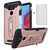 Phone Case for LG G6 with Tempered Glass Screen Protector Cover Credit Card Holder Wallet Stand Kickstand Cell Accessories Heavy Duty Protective LGG6 G 6 Plus LG6 ThinQ G6+ 6G VS988 H871 Women Pink