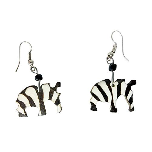 Zebra Black and White Bone Earrings