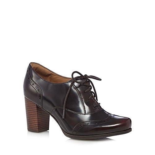 """Clarks–Zapatos de cordones de Piel para mujer rojo oscuro """"Ciera salmuera Mid Heeled"""