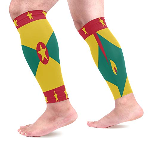 poeticcity Grenada Flag 1 Pair Calf Sleeves Cooling Leg Support Pain Recovery