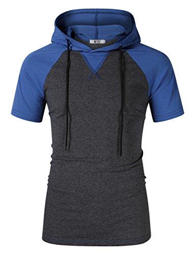 MrWonder Men's Casual Slim Fit Long Sleeve Lightweight Raglan Pullover Hoodie Sweatshirts (XL, Short Sleeve Hoodie Blue) (Slim Pullover Lightweight)