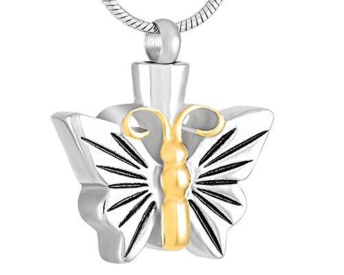 Casket Etcetera Butterflies Styles Urn Necklace Cremation Jewelry Keepsake Memorial Ash Holder (Gold Streak)