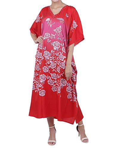 Embellished Kaftan - Miss Lavish London Kaftan Tunic Plus Size Beach Cover Up Maxi Dress Sleepwear Embellished Kimonos Red [US 6-12]