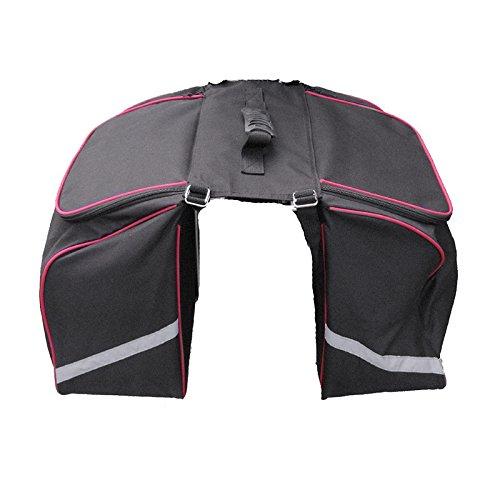 Filmer Fahrrad-Doppeltasche mit Reflektorstreifen, Rot/Schwarz, 32 x 35 x 17 cm, 20 Liter, 46353