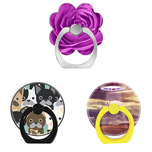 Bsxeos 360°Rotation Cell Phone Holder with Car Mount Work for All Smartphones and Tablets-Cartoon Cute Dogs-Cow Abducted by Aliens Fantasy Art-Floral Photo of a Vibrant Orchid Colored Rose(3 Pack)
