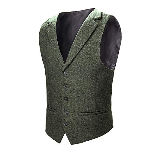VOBOOM Mens Herringbone Tailored Collar Waistcoat Fullback Wool Tweed Suit Vest (Army Green, S)