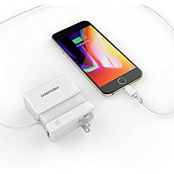 Heloideo Power Bank AC Plug 6000mAh Portable Charger, Wall Charger Built-in AC Adapter, Lightning Cable, Extra USB Output Port Cellphone Holder(White)