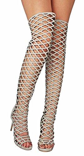 - Women Electra Grey Fashion Strappy Cut Out Gladiator Roman Platform Knee High Heel Boots Gladiator Sandals-9