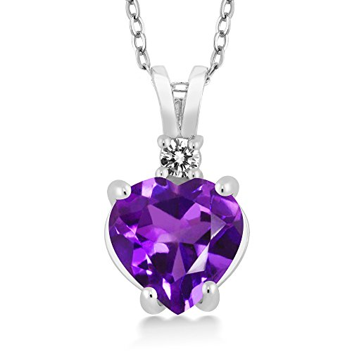 - Gem Stone King 14K White Gold Heart Pendant set with 1.67 Ct Purple Amethyst & White Diamond