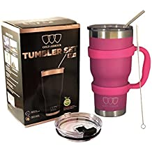 30 oz Tumbler 6-Piece Tumbler Set (7 COLORS: BLACK, BLUE, PINK, SEAFOAM, SS, WHITE) Ultra-Tough Double Vacuum Insulated Stainless Steel Travel Tumbler Bundle Straw Lid Handle Set Great Gift (Pink)