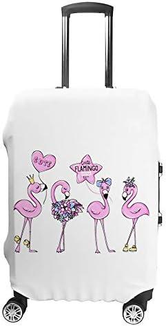 スーツケースカバー トラベルケース 荷物カバー 弾性素材 傷を防ぐ ほこりや汚れを防ぐ 個性 出張 男性と女性かわいいピンクのフラミンゴ