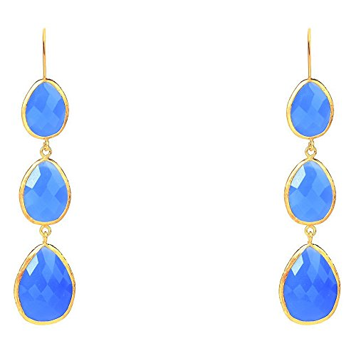 Gold Triple Drop Earring Dark Blue Chalcedony