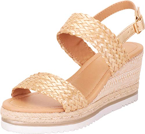 Cambridge Select Women's Woven Braided Chunky Espadrille Platform Wedge Sandal,8 B(M) US,Light Gold -