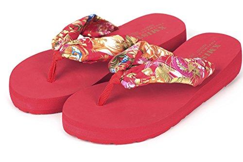 Wedge Casual Womens Floral Red Bohemia Slippers Eagsouni Flip Flops Beach Summer Sandals gcqZ74YYyA