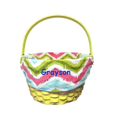 Personalized Chevron Pattern Easter Basket Yellow
