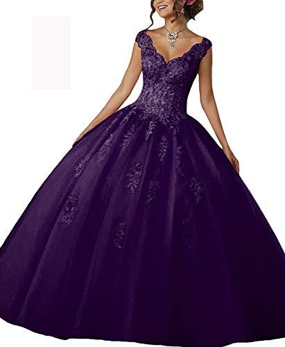 YinWen Women's Cute Princess Pagenat Sweet 16 V-Neck Lace Appliques Straps Sleeveless Prom Quinceanera Dress Grape ()