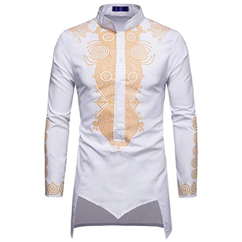 Luxfan Mens African Clothing Tribal Dashiki Long Shirt Traditional Ethnic Slim Fit Outfit Plus Size (D-White, M)