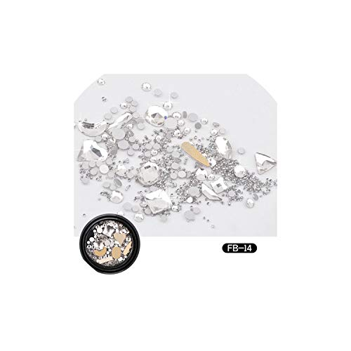 3D Mixed AB Nail Rhinestones Crystal Beads Colorful Broken Glass Nail Art Decorations Manicure Charm DIY Design030,14