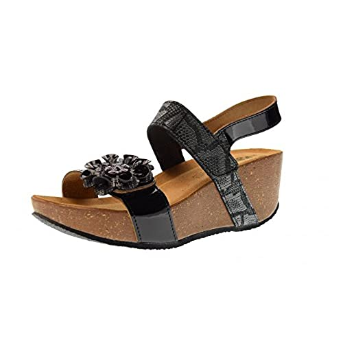 IGI Co 1196100 Sandalia de Cuña encubierta de Mujer EN Cuero Negro Barniz  bivelcro Hecho EN Italia c84545158a01