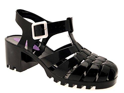 Lora Dora Womens Block Chunky Heel Jelly Sandals Black