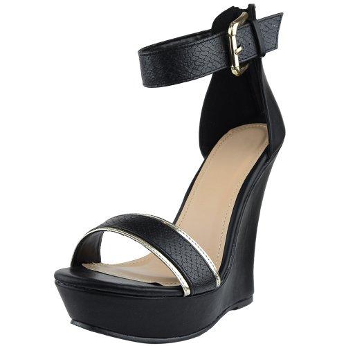 Plate-forme Sandales Femmes Deux Tons Sangle Unique Robe À Talons Hauts Chaussures Noir Noir