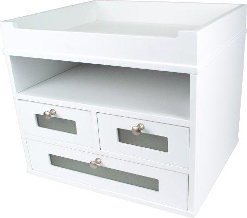White Desk Organizer Wooden Construction With Storage