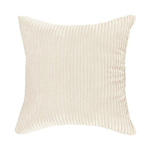 (HOME BRILLIANT Super Soft Plush Corduroy Solid Textured Large Throw Euro Pillow Sham Cushion Cover with Zipper, 26 x 26(66cm), Cream Cheese)